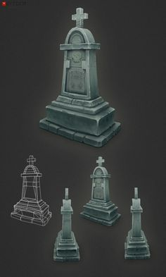 Low Poly Grave Stone 04 It's finally done! I suppose this would also classify as a WIP update… All the gravestones in the series are through. Now it's on to the gate and perhaps some path tiles and a ground texture to complete the set!