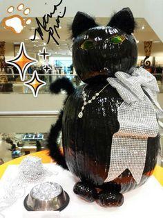 Bling Black Cat Pumpkin