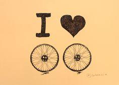 I love two wheels. Gravura em nanquim na cor preta e sépia em papel especial de algodão.