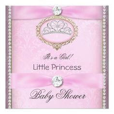 "Baby Shower Girl Pink Princess Tiara Diamond 2 5.25"" Square Invitation Card"
