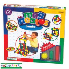 Amazon.com: Guidecraft G8101 Magneatos Jumbo 72 Piece Magnetic Building Set: Toys & Games