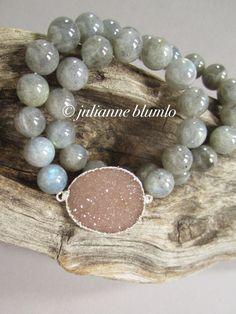 Labradorite Druzy Bracelet Drusy Quartz Beaded by julianneblumlo, $98.00