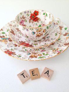 Vintage English Bone China Radfords Fenton The Gatineau Pattern Teacup, Saucer and Dessert Plate Trio