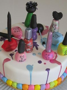 """Spa Party Cake - maybe just one or three nail polishes with """"Happy Birthday Cora!"""" LOVE the spills!!"""