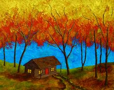Cabin In Treman State Park ORIGINAL ACRYLIC by MikeKrausArt