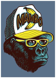 Hipster Gorilla wearing a Mambo surf brand Cap for a range of Kids T shirts by (you guessed it) Mambo. Monkey Illustration, Funny Iphone Wallpaper, Tape Art, Ex Machina, Commercial Art, Surf Art, King Kong, Colorful Drawings, Framed Art