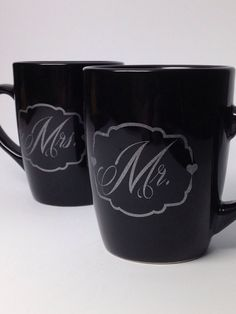 Mr. And Mrs. Coffee Mug - Unique Wedding Gift Idea - Handmade Coffee Mug - Unique Bridal Shower Gift Idea - Wedding Gift Idea - Ceramic Mug on Etsy, $14.95