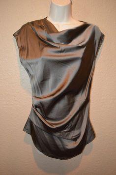 NWT $290 Sz S/P Helmut Lang Taupe Silk Drape Asymmetrical Sleeveless Blouse #HelmutLang #Blouse #Casual