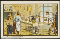 A kitchen fit for Heston Blumenthal? The French artists imagined a world where people did less of the chores themselves and kitchen were packed with gadgets. Most modern kitchens have ovens and drinks makers (pictured) and soon we could be doing our grocery shopping directly from a smart fridge