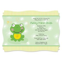 Let our Froggy Frog personalized birthday party invitations with squiggle shape set the tone for your entire birthday party. After just one look, your guests will know this is a party they do not want to miss. Personalize our Froggy Frog birthday party in Frog Birthday Party, 2nd Birthday Parties, Birthday Party Invitations, Baby Shower Invitations, Boy Birthday, Birthday Ideas, Birthday Cake, Boy Baby Shower Themes, Baby Shower Fun