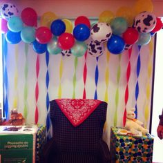 Super easy balloon banner & streamer at a farm themed baby shower.  Needle & thread.