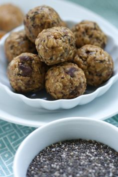 Peanut Butter Chocolate Chip Chia Bites | by Oven Love ...instead of honey, I used a mashed banana with some agave nectar. Plus dark chocolate chips. Very delicious! Difficult to keep myself from eating the entire batch in one sitting.
