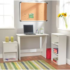 Create a functional office or workspace anywhere with this stylish white study desk and coordinating accent pieces. This high quality, three-piece wood set comes with a sturdy flat desk, a three-shelf bookcase, and a storage unit with cupboard. Study Table Organization, Bookcase Organization, Desk And Chair Set, Desk Set, White Bookshelves, Study Nook, Student Desks, Cube Storage, Storage Shelving