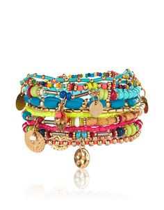 Vibrant and eclectic, our Havana stretch bracelets are embellished with a variety of colourful and wooden beads, and accented with disc charms.