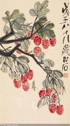 LYCHEE AND GRASSHOPPER vendu par Freeman Fine Arts, Philadelphie, on lundi 14 septembre 2009 Chinese Painting, Chinese Art, Asian Art, Watercolor Art, September, Camping, Fine Art, Vegetables, Fruit
