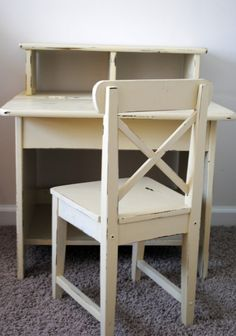 Distressed Yellow Kids Desk and Chair by Lilson on Etsy, $75.00
