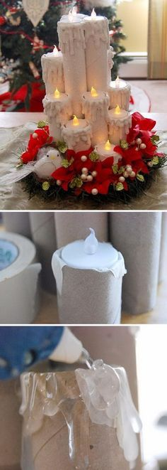 Create these magical recycled paper tube Christmas candles with just paper and toilet paper tubes and tulle ribbon rolls.