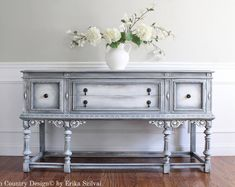 Antique 1920-30's Jacobean Style Hand Painted French Country Design Romantic Victorian Weathered Gray Buffet Sideboard