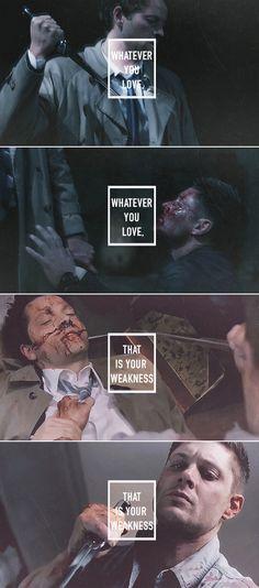 Dean + Castiel: Whatever you love, that is your weakness. #spn #destiel