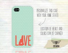 Coral and Mint Chevron State Love iPhone 4 Case, iPhone 4s Case