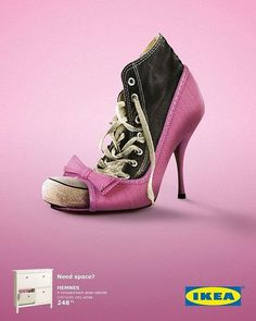 IKEA The simple, aesthetically-pleasing art direction perfectly dramatizes a reason to buy shoe cabinets. Ads one below) are for the Istanbul, Turkey IKEA. Creative Advertising, Ads Creative, Print Advertising, Print Ads, Best Advertising Campaigns, Visual Advertising, Coffee Advertising, Ad Campaigns, Creative Director