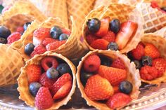 Berry filled ice cream cones at a Fairy Party #fairy #partyfood