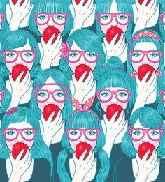 jongmee art blue hair girls apple illustration pink glasses
