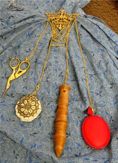 DIY Chatelaine! These are the old pins that they used to wear that held scissors, tape measures, etc.