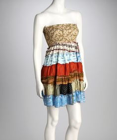 Tan & Blue Tiered Strapless Tunic