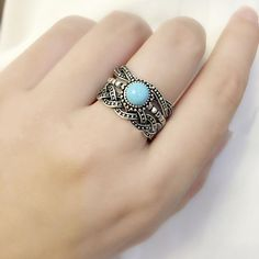 3 In 1 Turquoise Retro Jewelry Silver Turquoise Natural Gemstone Ring Set Size 7 Boho Rings, Jewelry Rings, Jewelry Ideas, Silver Jewelry, Silver Rings, Jewellery, White Gold Wedding Rings, Natural Gemstones, Gemstone Rings