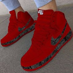 Red sneakers that I want Nike Red Sneakers, Cute Sneakers, Sneakers Fashion, Shoes Sneakers, Kd Shoes, Shoes Style, Running Shoes, Shoes Heels, Jordan Shoes Girls