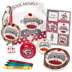 Sock Monkey Red Filled Party Favor Box from BirthdayExpress.com