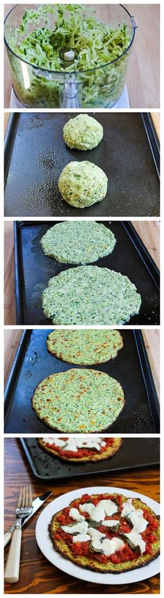 Zucchini-Crust Pizza: zucchini + almond meal + parmesan + oregano + garlic powder + salt + egg
