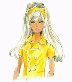 Fashion Design Drawings, Fashion Sketches, Fashion Illustrations, Fashion Dolls, Fashion Art, Barbie Drawing, Barbie Vintage, Barbie Images, Fashion Tips For Women