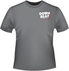 Gray DownBeat Retro T-Shirt with front pocket logo.  These are preshrunk and soft-style cotton.  They come in Black, Blue, or Gray.  Get one while they're available!