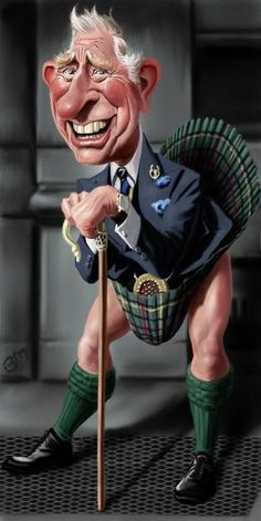 I saw Prince Charles (entirely by happenstance) just once while I was living in London; this is a caricature of the in a kilt channeling Marilyn Monroe. Cartoon Faces, Funny Faces, Cartoon Art, Cartoon Characters, Caricature Artist, Caricature Drawing, Drawing Art, Funny Caricatures, Celebrity Caricatures