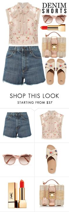 """Summer in shorts"" by alaria ❤ liked on Polyvore featuring rag & bone, Needle & Thread, Victoria Beckham, Fendi, Yves Saint Laurent, Mark Cross and cutoffs"