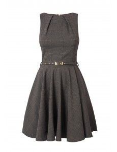 Closet Checked Belted Flare Dress