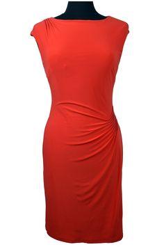 Lauren Ralph Lauren Petite Cowl-Neck Sheath Dress Coral Size 4P at Amazon Women's Clothing store: