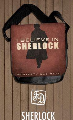 i believe in SHERLOCK HOLMES  shoulder bag by koroa on Etsy, $30.00