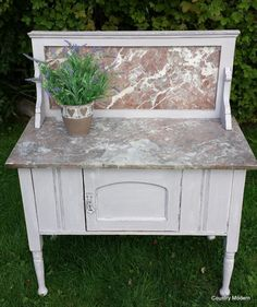 Hand Painted Antique marble wash stand by CountryModernUK on Etsy, £260.00