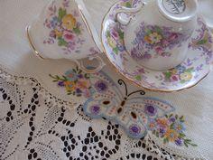 Teacups & vintage tea towel By eg2006