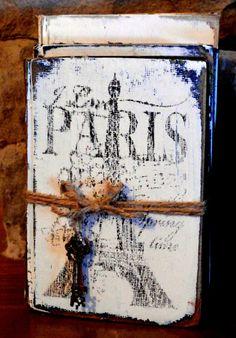 Painted White Vintage Books Old Paris Book by SecretTreasuresFound