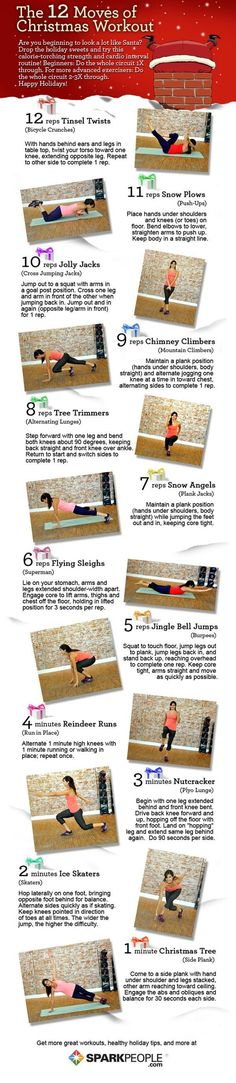 The 12 Moves of Christmas Workout! These moves are so cute, and it's a great travel-friendly workout, too! | via @SparkPeople #workout #fitness #holiday
