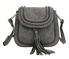 New Trending Cross Body Bags: Zicac Fashion Rivet PU Cross Body Bag Saddle bag Woven Shoulder bag with Tassel (Gray). Zicac Fashion Rivet PU Cross Body Bag Saddle bag Woven Shoulder bag with Tassel (Gray)  Special Offer: $28.99  211 Reviews Zicac Rivet Cross Body Pu Leather Bag Saddle Bag Braided Shoulder Bag with Tassel for Women Girls Material: PU Leather Lining Material: polyester Style: Casual...