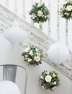 flower baubles and paper ornaments are a modern alternative to a swagged garland homes christmas flowerswhite christmaschristmas decorationspaper - White Christmas Flower Decorations