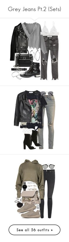 """""""Grey Jeans Pt.2 (Sets)"""" by vanilla-cupcakee ❤ liked on Polyvore featuring Yves Saint Laurent, Alexander Wang, Monki, Jennifer Fisher, Alexander McQueen, Gucci, Monica Vinader, High Heels Suicide, H&M and Kendall + Kylie"""