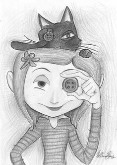 halloween drawings Coraline *o* Cool Art Drawings, Art Drawings Sketches, Disney Drawings, Pencil Drawings, Drawing Ideas, Coraline Tattoo, Coraline Drawing, Halloween Tumblr, Halloween Drawings