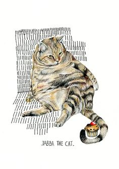 The fattest cat in the world… (www.rebecalosada.tumblr.com) Tagged as: Rebeca Losada color pencil Illustration cat art drawing