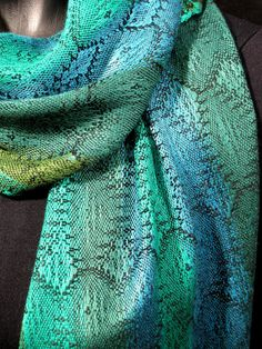 luxurious hand woven scarf blue green weaving by LoomOnTheLake, $190.00
